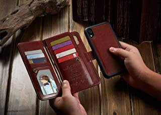 for iPhone XR Wallet Case, Urvoix Leather Flip Card Holder Cover with Detachable Magnetic Back Case for iPhone XR Phone Case(6.1-inches Display) (Brown)
