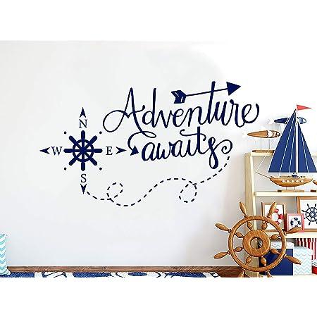 Nursery wall decal boy bedroom decor, adventure sticker whale decal nautical nursery decal kids room decor adventure awaits decal