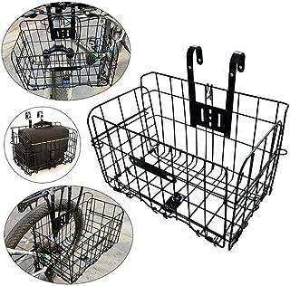 Folding Bike Basket, Lift-Off Front Bike Basket with Handles - Rust Proof Easy Installation on Front Handlebar - Bike Basket Bicycle Bag Cargo Rack for Mountain Bike Accessories
