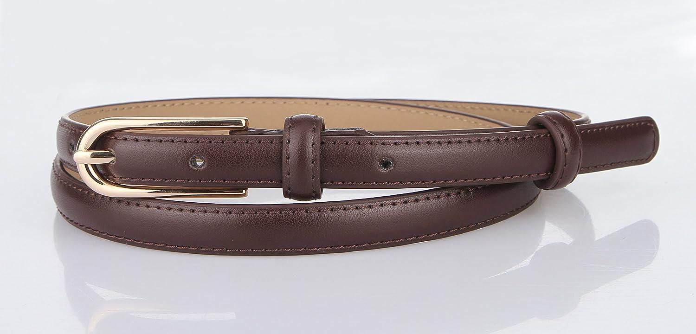 MARRYME Damen Ledergürtel Jeansgürtel Taillengürtel Schmal Gürtel für Kleider Kürzbar Belt Kunstleder-Gürtel Gesamtlänge 107cm Kaffee