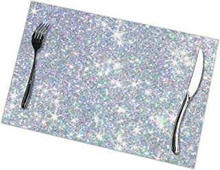 DPBEST Stylish Sequins Shiny Glitter Placemat Anti-Skid Set of 6 Tablemat 12x18inch