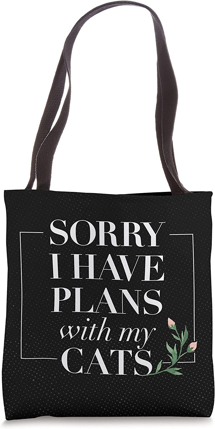 Sorry I Have Plans With My Cats Cute Floral Graphic Tote Bag