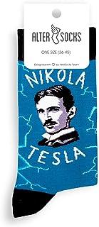 Altersocks, Calcetines unisex de fantasía y coloridos de algodón, modelo Nikolas Tesla, talla única (36 a 45)