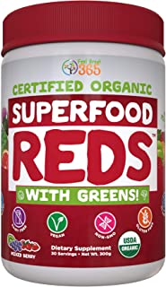 SUPERFOOD VITAL REDS & GREENS | Red & Green Veggie Superfood Powder | 100% USDA Organic Non-GMO Vegan Supplement | 40+ Whole Food Ingredients including Probiotics, Prebiotic Fiber & Digestive Enzymes