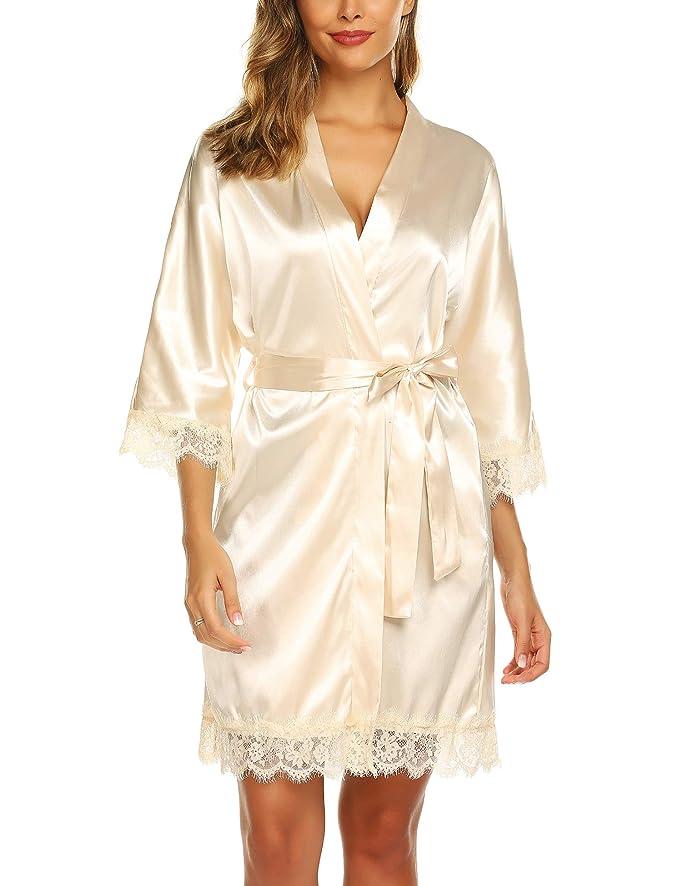 URRU Women's Satin Silk Bathrobe Oblique V-Neck Short Kimono Robe Bridesmaids Robe S-XXL