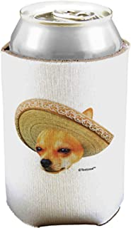TooLoud Chihuahua Dog with Sombrero - Patchwork Design Can/Bottle Insulator Cooler - 2 Pack
