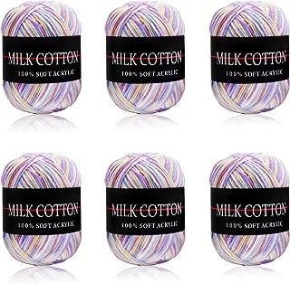 Fil de Laine à Tricoter Pull écharp 6 x 50g Ensemble de Fil à Tricoter Double Fil de Coton et de pelote Grandes Couleurs A...