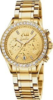 Women's Bracelet Chronograph Wrist Watch Gold Tone Watch with Stainless Steel Band 306