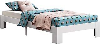 Cadre de Lit Solide Design à Sommier à Lattes Lit Simple Stylé en Pin et Bois Stratifié Capacité de Charge 100 kg 100 x 20...