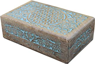 DharmaObjects Hand Carved Flower of Life Jewelry Tarot Card Trinket Keepsake Wooden Storage Box (Turquoise, Large)