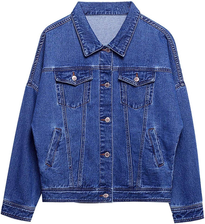 Casual Loose Denim Jacket Women Fashion Bat Sleeves BF Long Sleeve Coat (color   bluee, Size   XS)