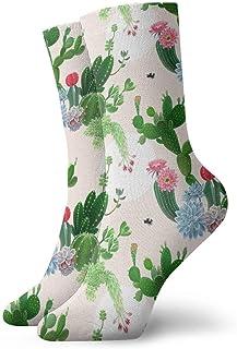 Flor Delicia De Cactus Calcetines cortos transpirables Calcetines clásicos de algodón de 30 cm para hombres Mujeres Yoga Senderismo Ciclismo