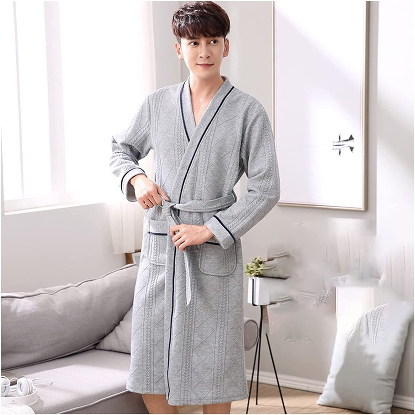 Bathrobe for Men Cotton,Couple Nightgown Thickened Long Absorbentpur Sexy Sandwich Plus Size Nightgown (Color : Gray, Size : 3XL)