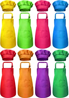 SATINIOR 16 Pieces Children Apron Chef Hat Set Kids Apron with 2 Pockets Children Adjustable Chef Apron and Hats for Boys ...