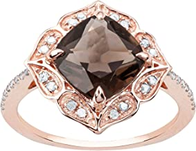 10k Rose Gold Vintage Style Cushion Smoky Quartz and Diamond Ring