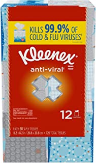 Kleenex Anti-Viral 3-Ply Facial Tissue, 60 Count (Pack of 12)
