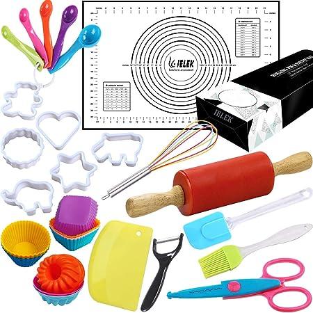 Kit de cuisine 31 pièces pour enfants : rouleau à pâtisserie antiadhésif, tapis à pâtisserie en silicone avec moules à cupcakes et moules amusants, kit d'apprentissage précoce à faire soi-même