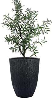 LA JOLIE MUSE Tall Planter - 14.2 Inch Large Indoor & Outdoor Tree Planter, Plant Pot Containers with Tree Bark Texture, B...