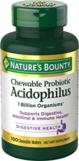 Nature's Bounty Probiotics Dietary Supplement, Supports Digestive and Intestinal Health, Chewable Probiotic Acidophilus, 100 Chewable Wafers