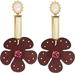 Blooming Bling Leather Linear Earrings