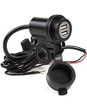 KiloNext バイク用 USB 充電器 USBポート 2個付き 急速充電 防水キャップ ブルーLED付き 5V 2.1A/1A