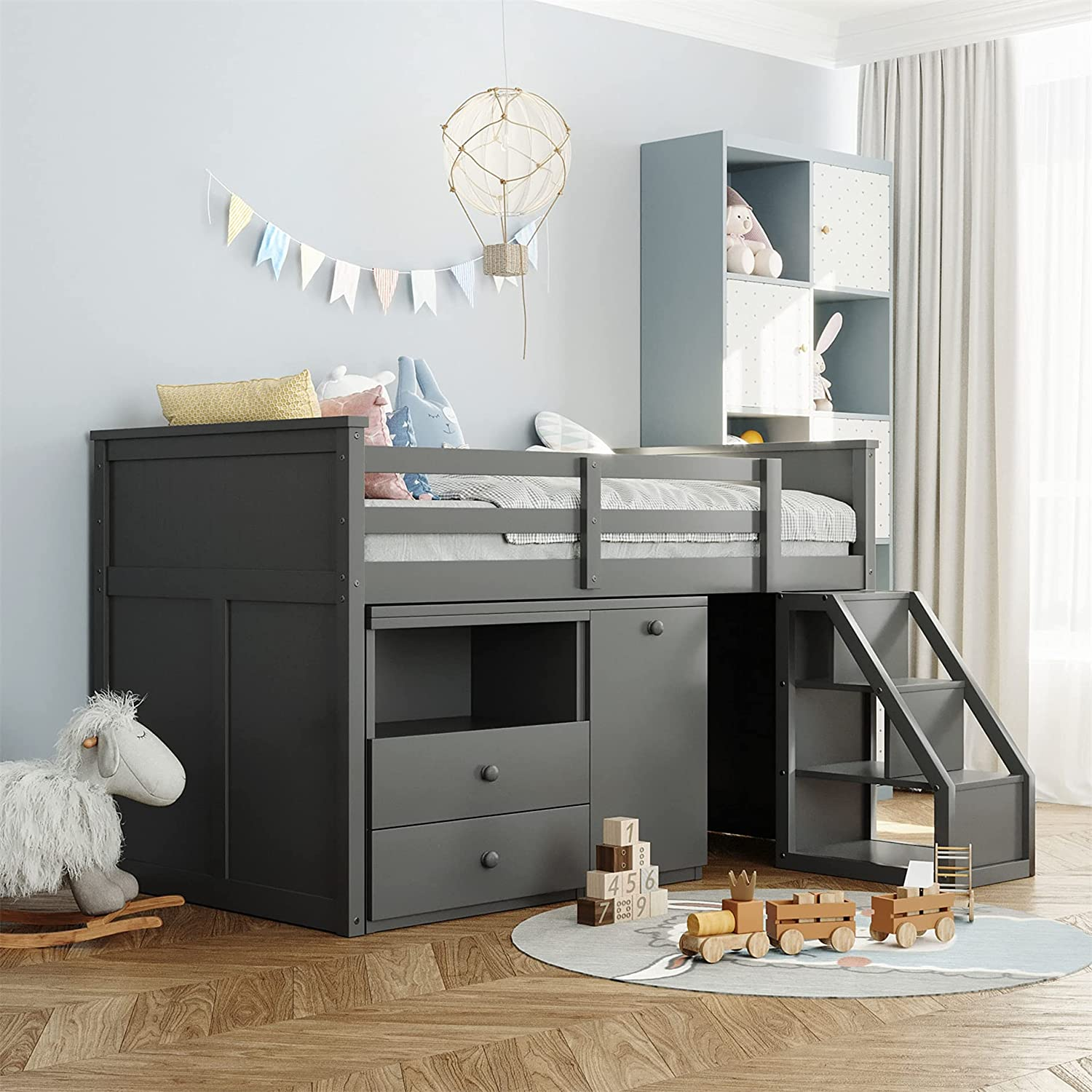 Low Loft Bed with Desk and Size Max 88% OFF Storage Twin Step Challenge the lowest price