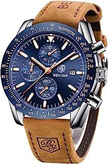 BENYAR Montre Homme chronographe pour Homme Mouvement à Quartz Bracelet en Cuir Montre de Sport d'affaires de Mode 30M éta...