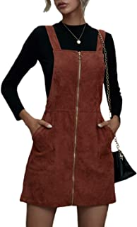 Verdusa Women's Zip Up Pocketed A Line Pinafore Corduroy Overall Dress