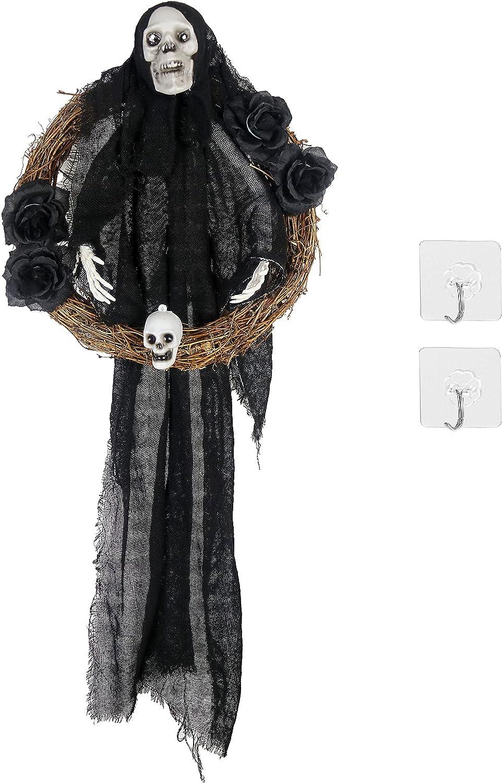 Kasla Halloween Skull Wreath for Front Door Halloween Horror Hanging Decor Black Ghost Wreath Wall Hanging Decoration Halloween Scary Indoor and Outdoor Decoration