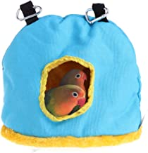 Keersi Winter Warm Bird Hut Nest House Bed Hammock Toy for Parakeet Cockatiel Cockatoo Conure Lovebird African Grey Amazon Eclectus Medium Large Parrot Cage Perch Stand