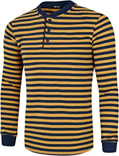 TATT 21 Men Henley Shirt Cotton Pullover Long Sleeve Casual Striped T Shirts