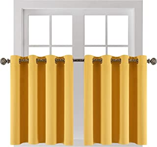 """YGO 2 Panels Silver Grommets Window Curtain 3 Layered Thermal Heavy Thick Insulated Blackout Drape Treatment Size 52"""" Wide..."""