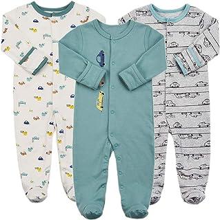 منامة مع قفازات - 3 قطع الرضع بنات أولاد ملابس نوم قطنية لحديثي الولادة
