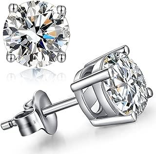 Stud Earrings 925 Sterling Silver Cubic Zirconia Round Princess Cut Fashion Earrings for Women Men