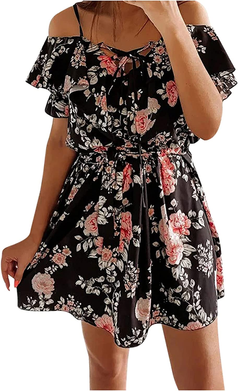 ManxiVoo Women's Spaghetti Strap Cold Shoulder Floral Print Ruffles Mini Dresses Short Beach Dress