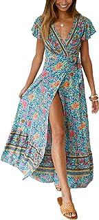 f29c4f4808d4be Cindeyar Kleider Boho Sommerkleid V-Ausschnitt Damen Vintage Strand Blumen  Maxikleid Kurzarm Strandkleid Lang mit