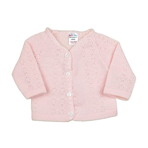 Baby Boy Girl White Pink Blue Knitted V-neck Cardigan 0-3-6-9m