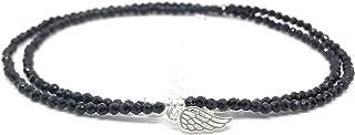 Gargantilla de espinelas negras y alas de ángel, piedras naturales semipreciosas de 2mm de grosor y plata de ley. Largo de...