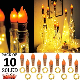 Wine Bottle Lights with Cork, 10 Pack 20 LED Torch Bottle Cork Lights Battery Operated Fairy Lights Silver Wire Flame Lamp for DIY Party Birthday Xmas Wedding Table Decor (Warm White)