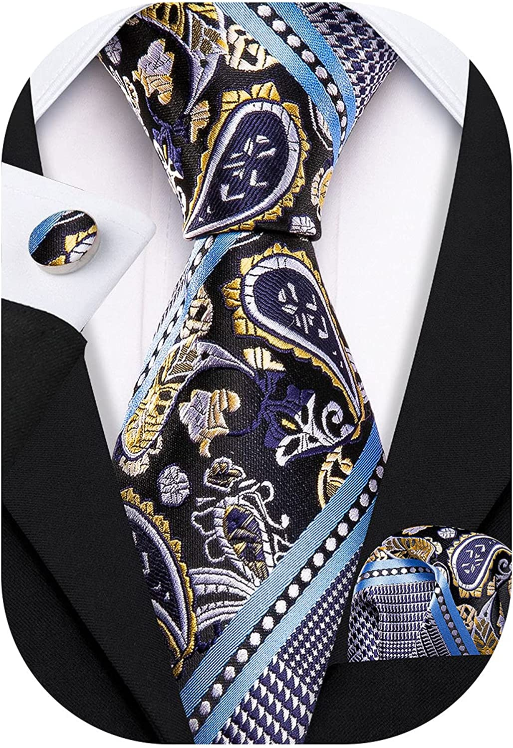 Barry.Wang Mens Plaid Check Silk Necktie Formal Business Wedding Luxury Ties and Pocket Square Cufflinks Set