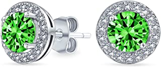 1CT Cubic Zirconia Round Brilliant Cut Solitaire Halo AAA CZ Stud Earrings For Women Sterling Silver Simulated Gemstones