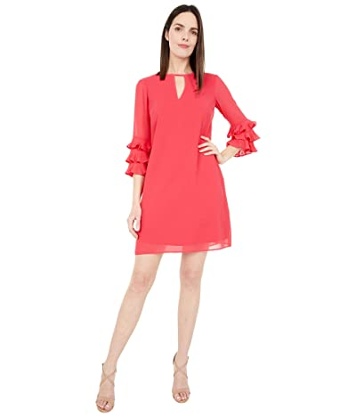 Vince Camuto Chiffon Float with Pleated Sleeve (Coral) Women