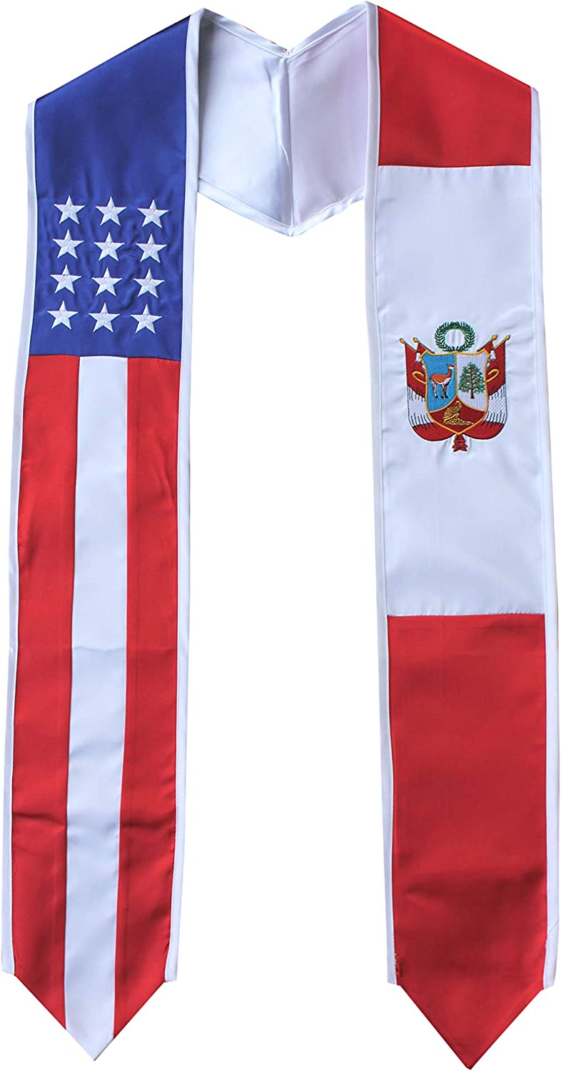 Peru and USA Combo Flag Stole Country Pride trend rank Sash Be super welcome Graduation