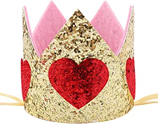 Maticr Sparkled First 1st Birthday Crown Baby Girl Princess Headband Party Supplies for Cake Smash