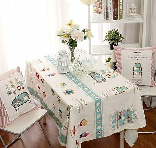Tischtuch Tischdecke Tuch L er Tee Tischdecke Baumwolle Leinen Tischdecke Familie Tischdecke Küche Rechteck Staubdicht Retro Outdoor Picknick (Blau + Grün) ( Größe   14020cm   (55.178.7in) )