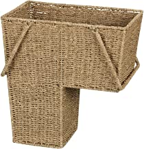 Household Essentials ML-5647 Seagrass Wicker Stair Step Basket with Handle - Natural Brown