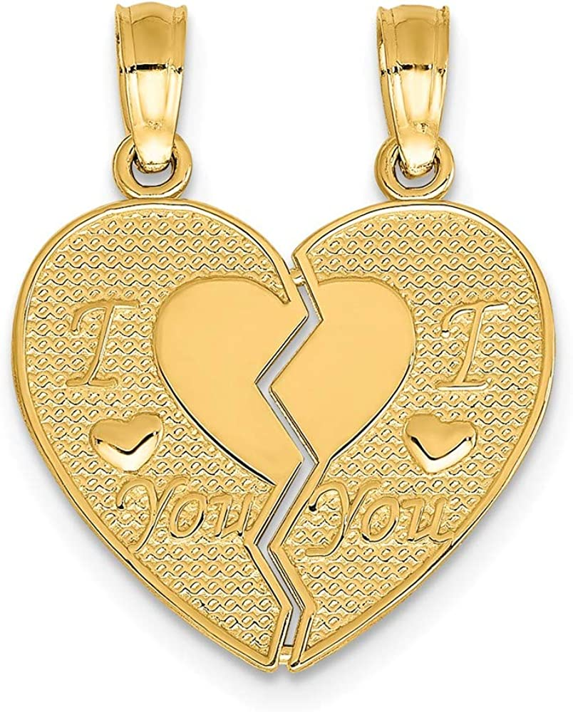 14k Yellow Gold I Love You Break Apart Heart Pendant Charm Necklace Fine Jewelry For Women Gifts For Her