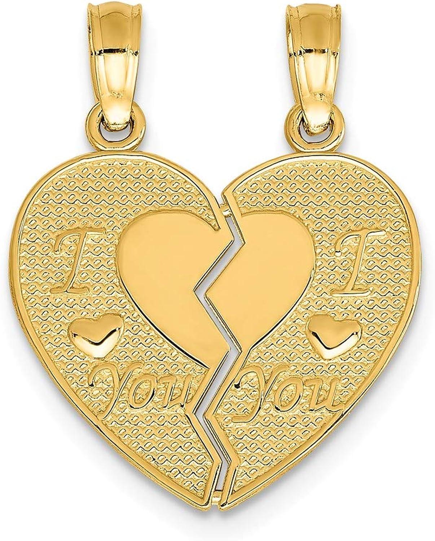 GelbGold 14 K I Love You You You break Apart Herz Charme B06ZZ9HHW8 36fcc0
