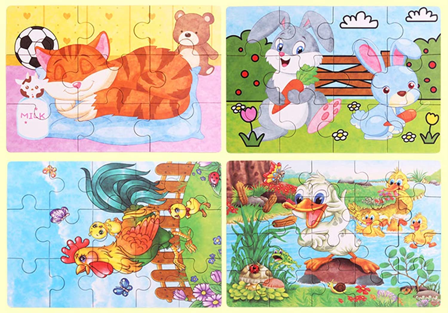 Xiaoyu Toddlers Jigsaw Puzzles, Wooden Animals Educational Puzzle, Baby Puzzles Age 3+ Toddlers Puzzles for Kids Boys and Girls, Cat