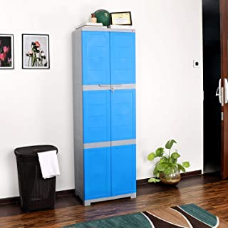 CelloNoveltyLarge Plastic Cupboard with Lock(Blue and Grey)